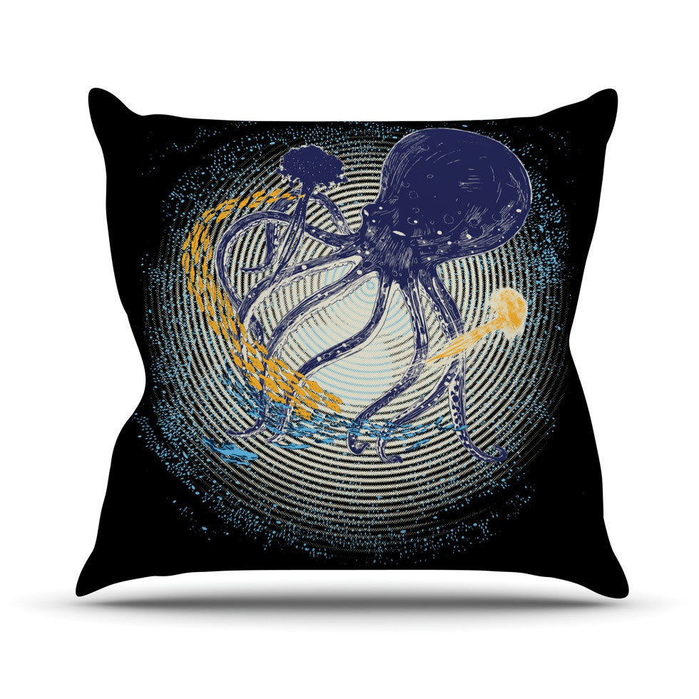 "Frederic Levy-Hadida ""Tentacular Trap"" Octopus Outdoor Throw Pillow - KESS InHouse  - 1"