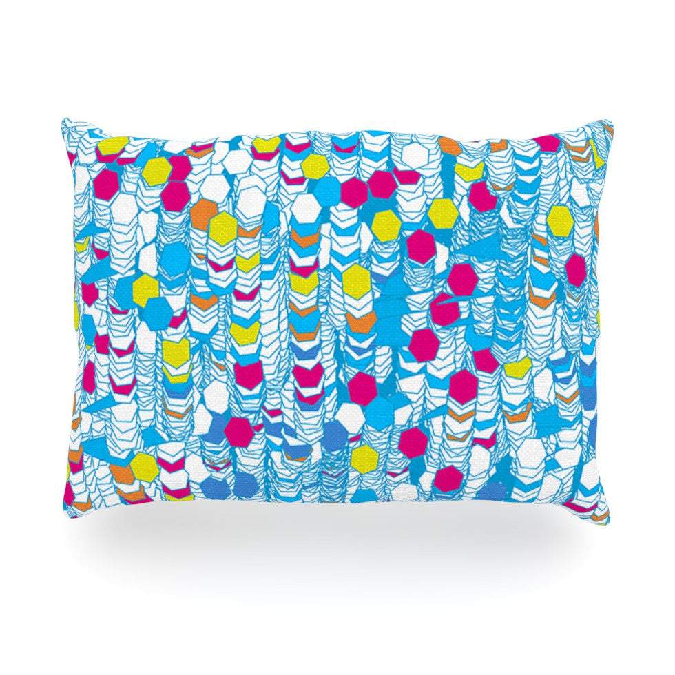 "Frederic Levy-Hadida ""Color Hiving"" Blue Abstract Oblong Pillow - KESS InHouse"