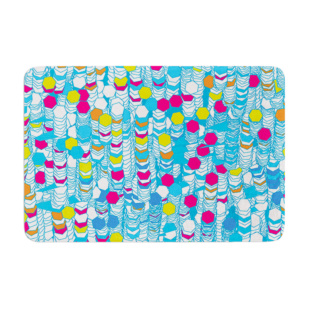 "Frederic Levy-Hadida ""Color Hiving"" Blue Abstract Memory Foam Bath Mat - KESS InHouse"