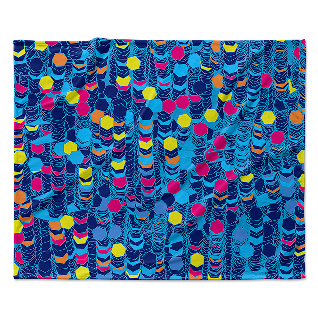 "Frederic Levy-Hadida ""Color Hiving Blue"" Navy Fleece Throw Blanket"