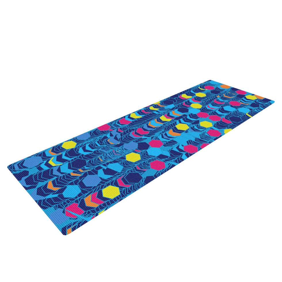 "Frederic Levy-Hadida ""Color Hiving Blue"" Navy Yoga Mat - KESS InHouse  - 1"