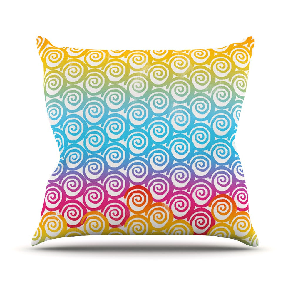 "Frederic Levy-Hadida ""Ethnic Spirals"" Rainbow Outdoor Throw Pillow - KESS InHouse  - 1"