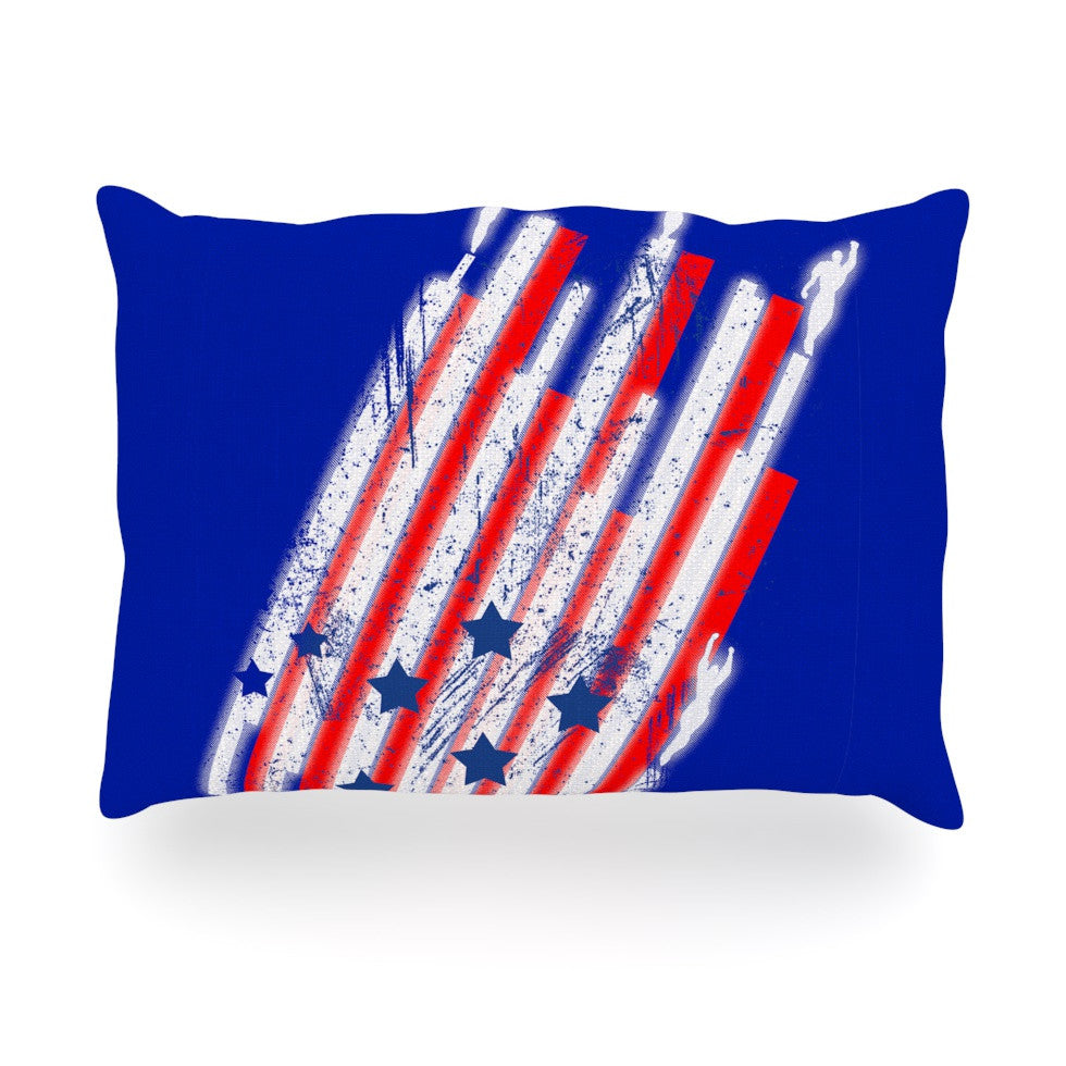 "Frederic Levy-Hadida ""Going 4ward"" Blue Red Oblong Pillow - KESS InHouse"