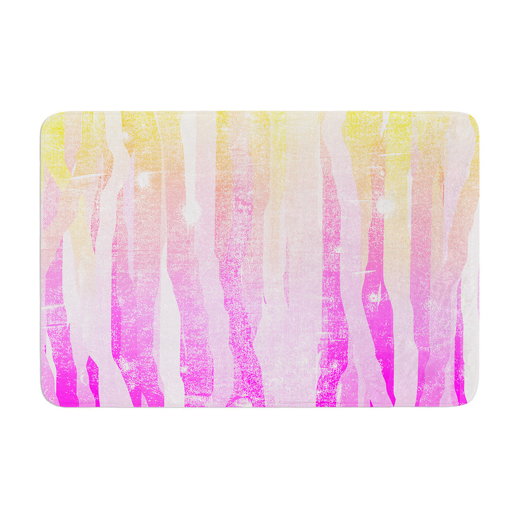 "Frederic Levy-Hadida ""Jungle Stripes Pink"" Yellow Painting Memory Foam Bath Mat - KESS InHouse"