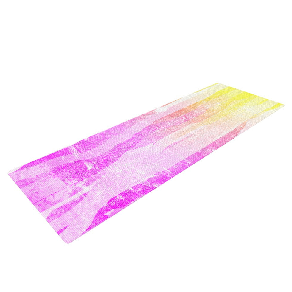 "Frederic Levy-Hadida ""Jungle Stripes Pink"" Yellow Painting Yoga Mat - KESS InHouse  - 1"