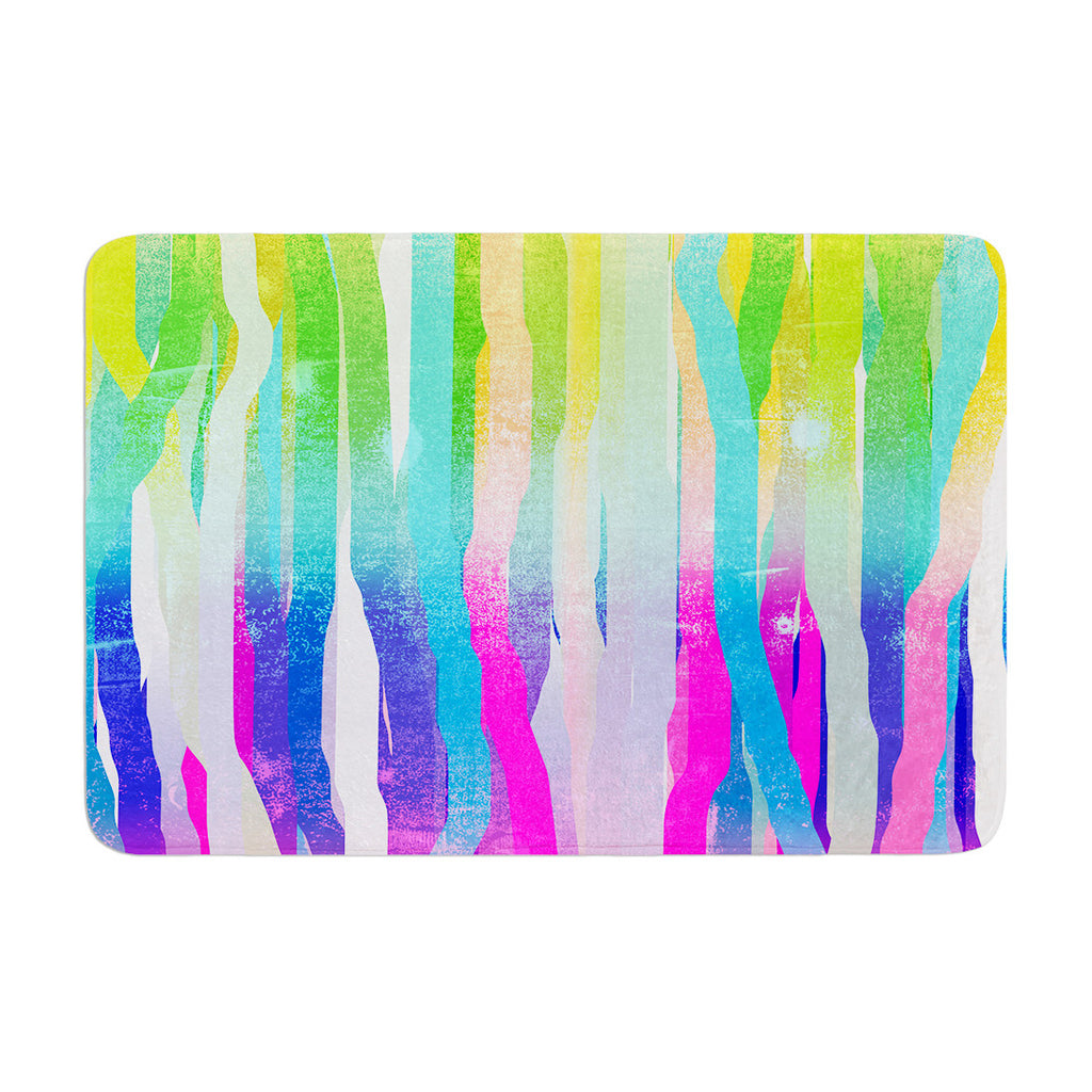 "Frederic Levy-Hadida ""Jungle Stripes Pastel"" Multicolor Painting Memory Foam Bath Mat - KESS InHouse"