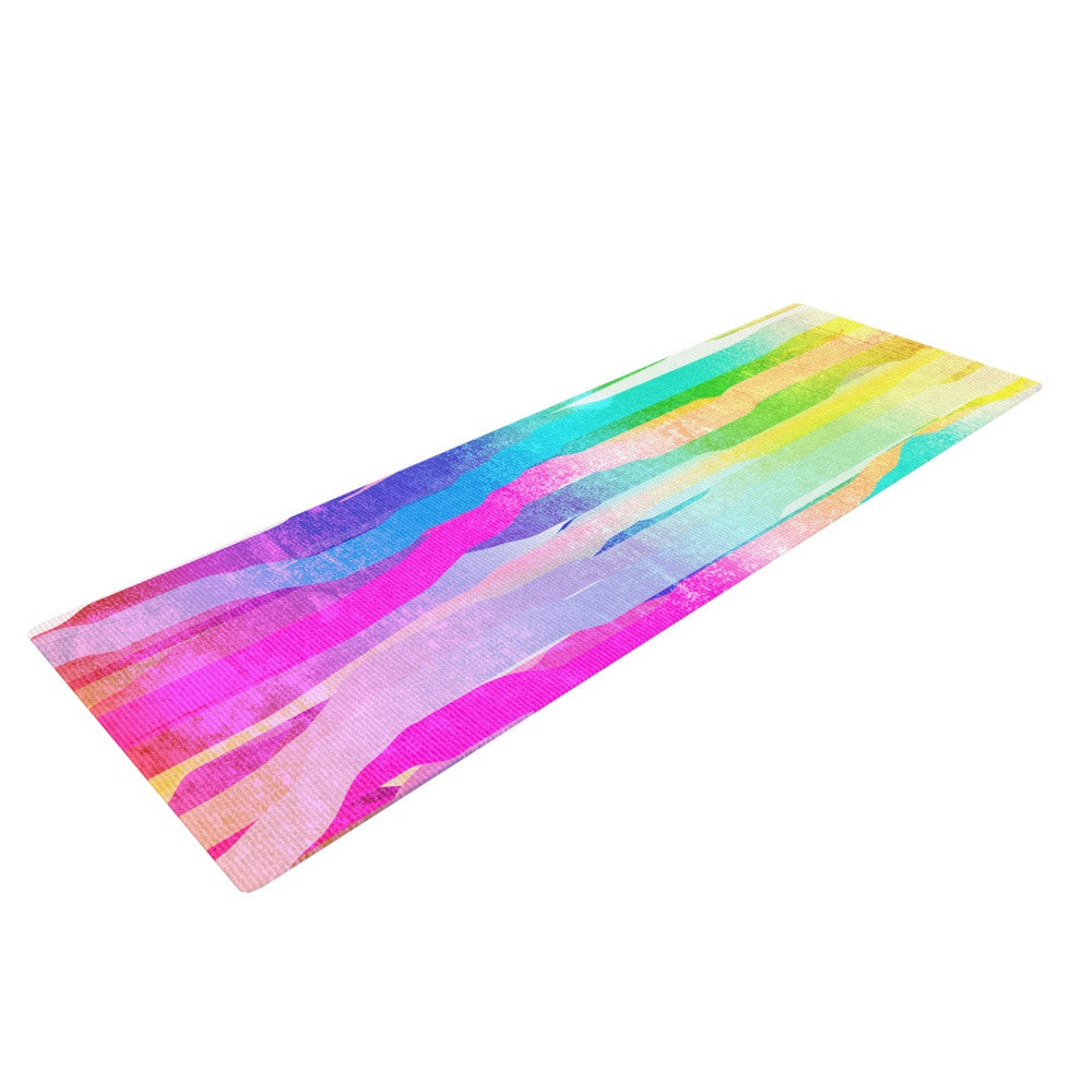"Frederic Levy-Hadida ""Jungle Stripes Pastel"" Multicolor Painting Yoga Mat - KESS InHouse  - 1"