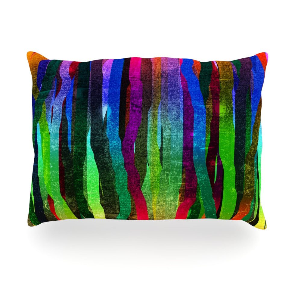 "Frederic Levy-Hadida ""Jungle Stripes II"" Black Rainbow Oblong Pillow - KESS InHouse"