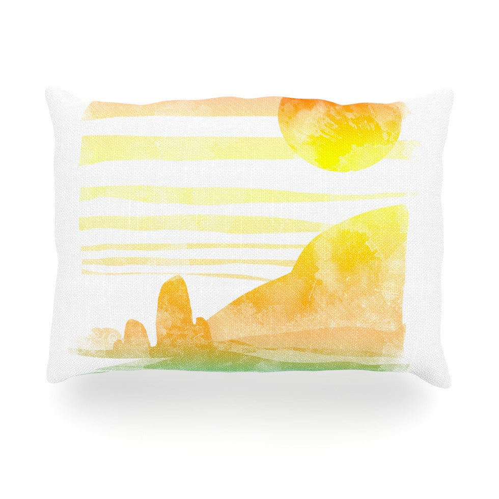 "Frederic Levy-Hadida ""Landscape Painted With Tea"" Orange Coastal Oblong Pillow - KESS InHouse"