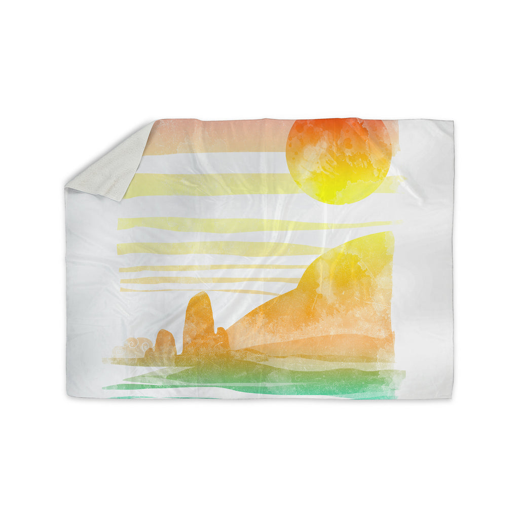 "Frederic Levy-Hadida ""Landscape Painted With Tea"" Orange Coastal Sherpa Blanket - KESS InHouse  - 1"