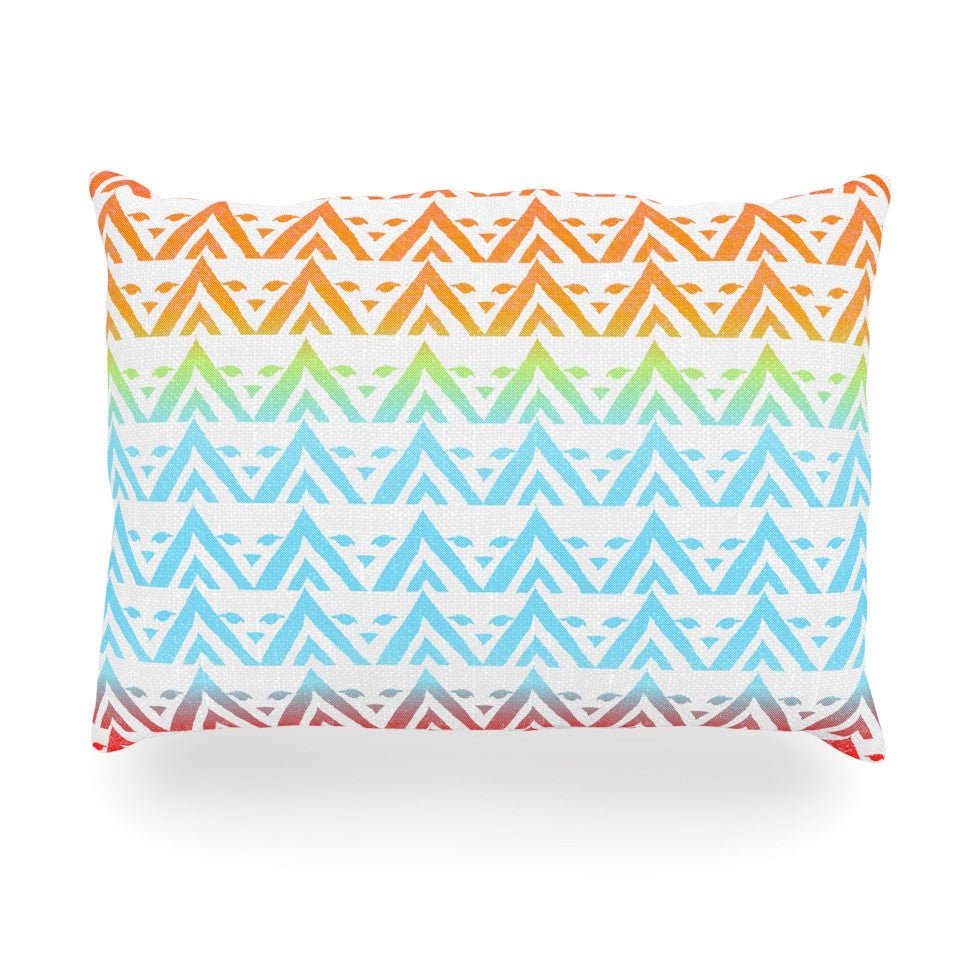 "Frederic Levy-Hadida ""Antilops Pattern"" Multicolor Chevron Oblong Pillow - KESS InHouse"