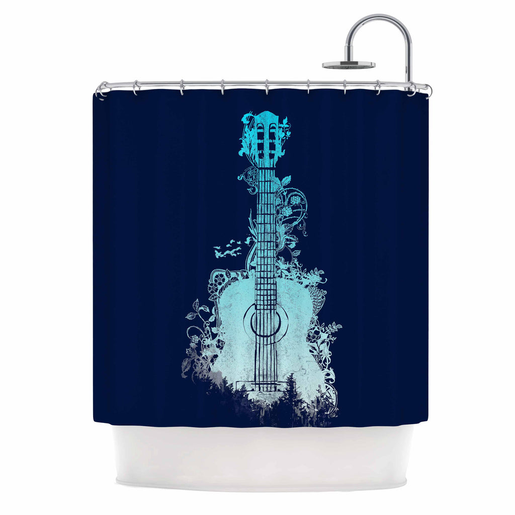 "Frederic Levy-Hadida ""Nature Tune - Blue"" Aqua Music Shower Curtain - KESS InHouse"