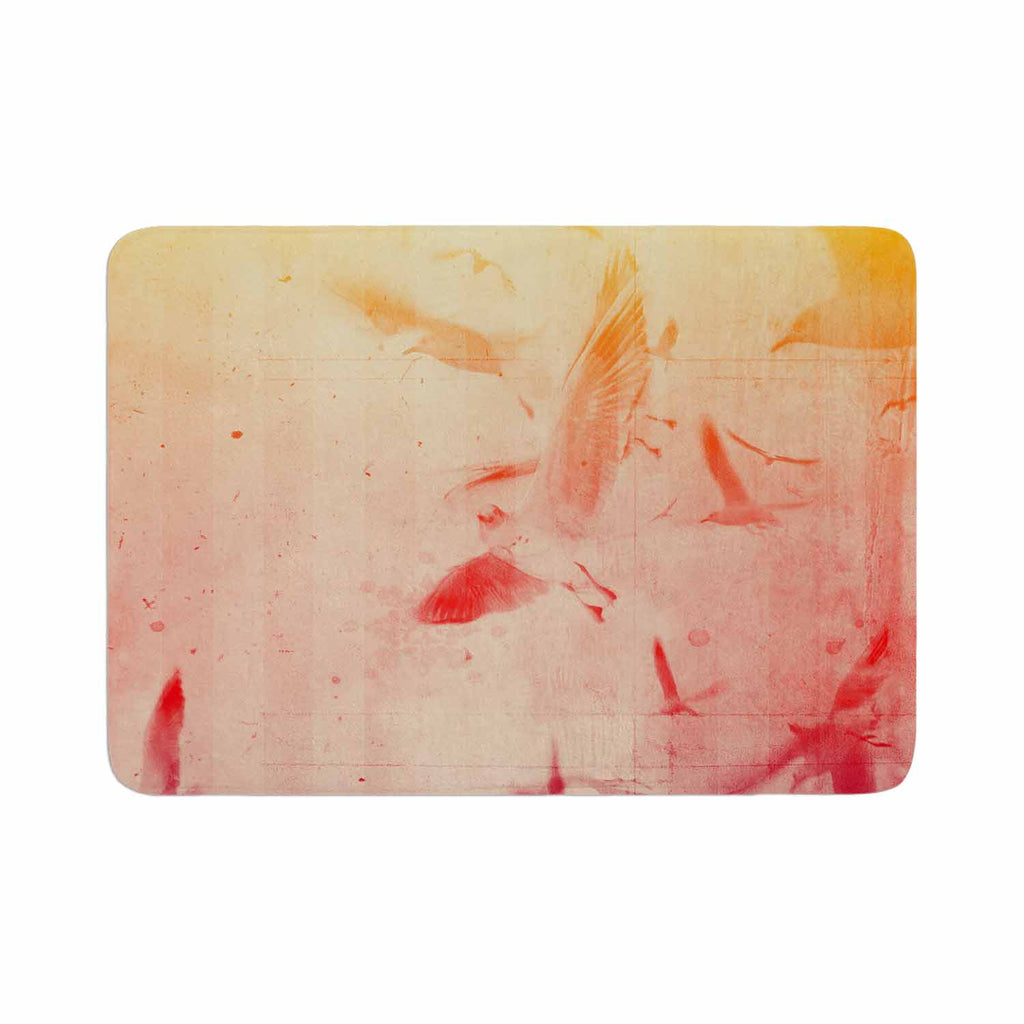 "Frederic Levy-Hadida ""Them Birds"" Orange Purple Memory Foam Bath Mat - KESS InHouse"