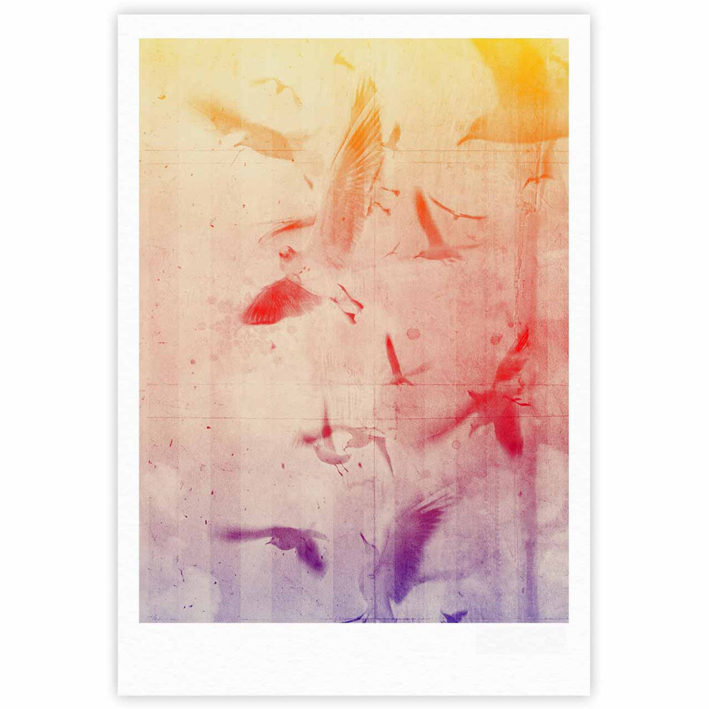 "Frederic Levy-Hadida ""Them Birds"" Orange Purple Fine Art Gallery Print - KESS InHouse"