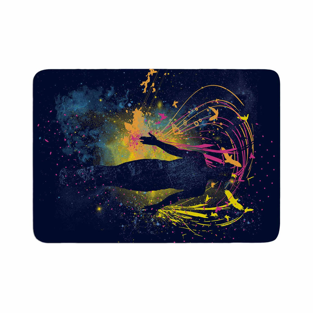 "Frederic Levy-Hadida ""The Birds Master"" Blue Multicolor Memory Foam Bath Mat - KESS InHouse"