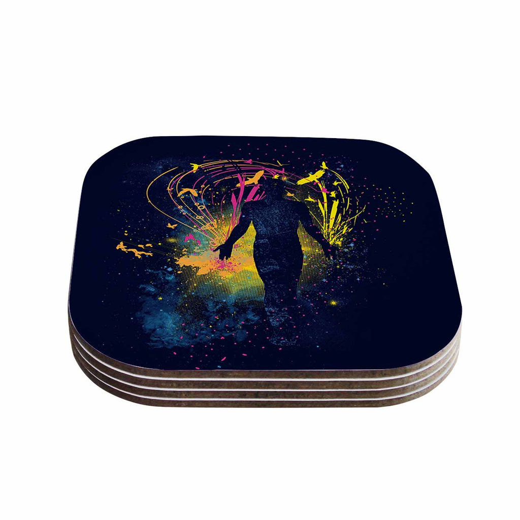 "Frederic Levy-Hadida ""The Birds Master"" Blue Multicolor Coasters (Set of 4)"