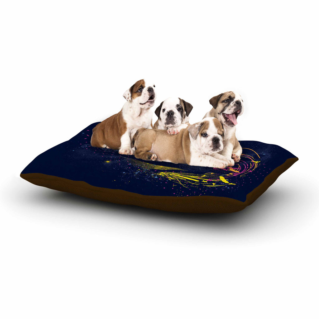 "Frederic Levy-Hadida ""The Birds Master"" Blue Multicolor Dog Bed - KESS InHouse  - 1"