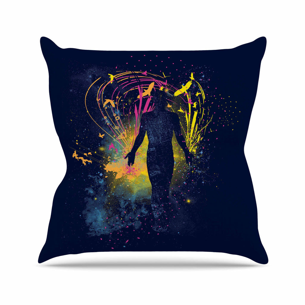 "Frederic Levy-Hadida ""The Birds Master"" Blue Multicolor Outdoor Throw Pillow - KESS InHouse  - 1"