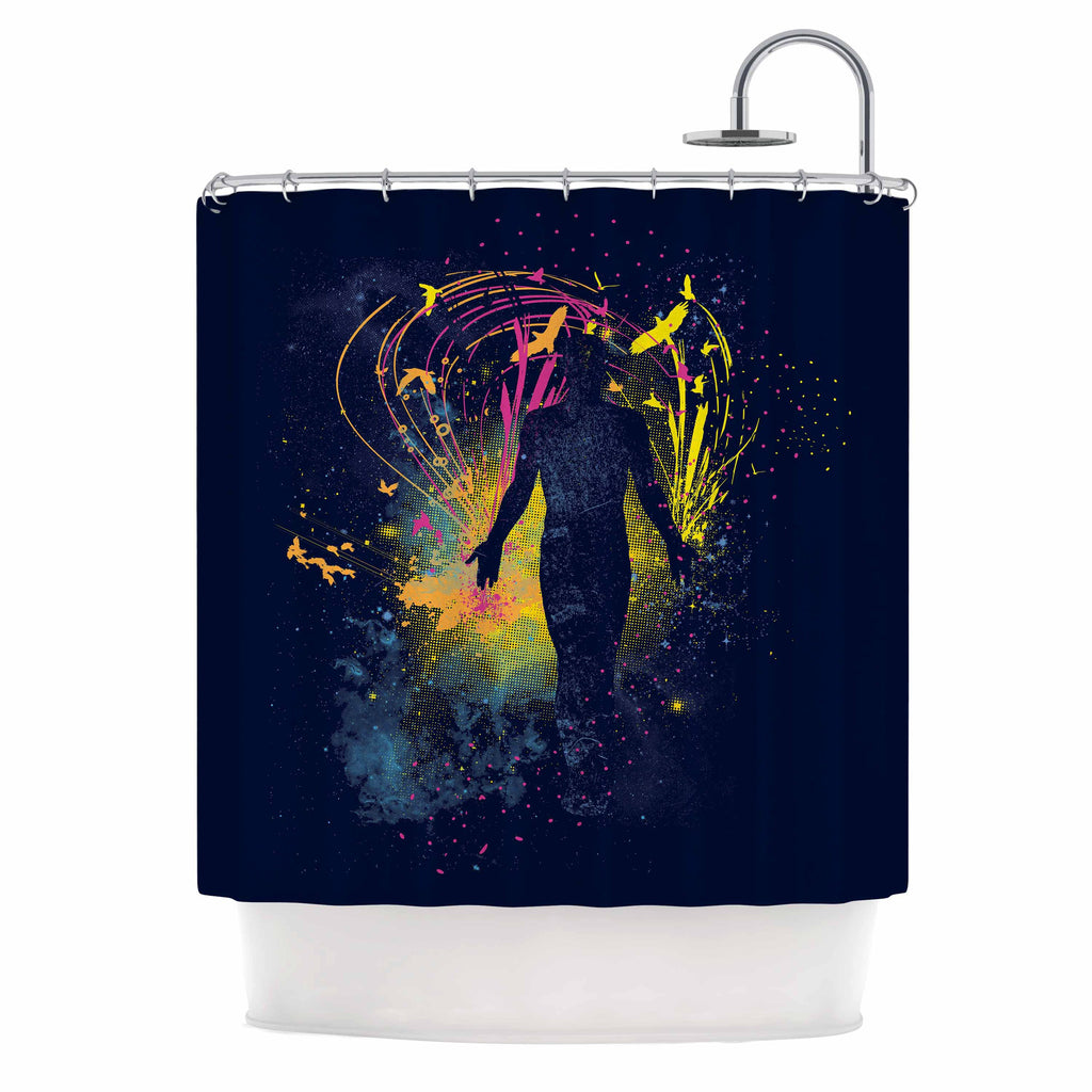 "Frederic Levy-Hadida ""The Birds Master"" Blue Multicolor Shower Curtain - KESS InHouse"
