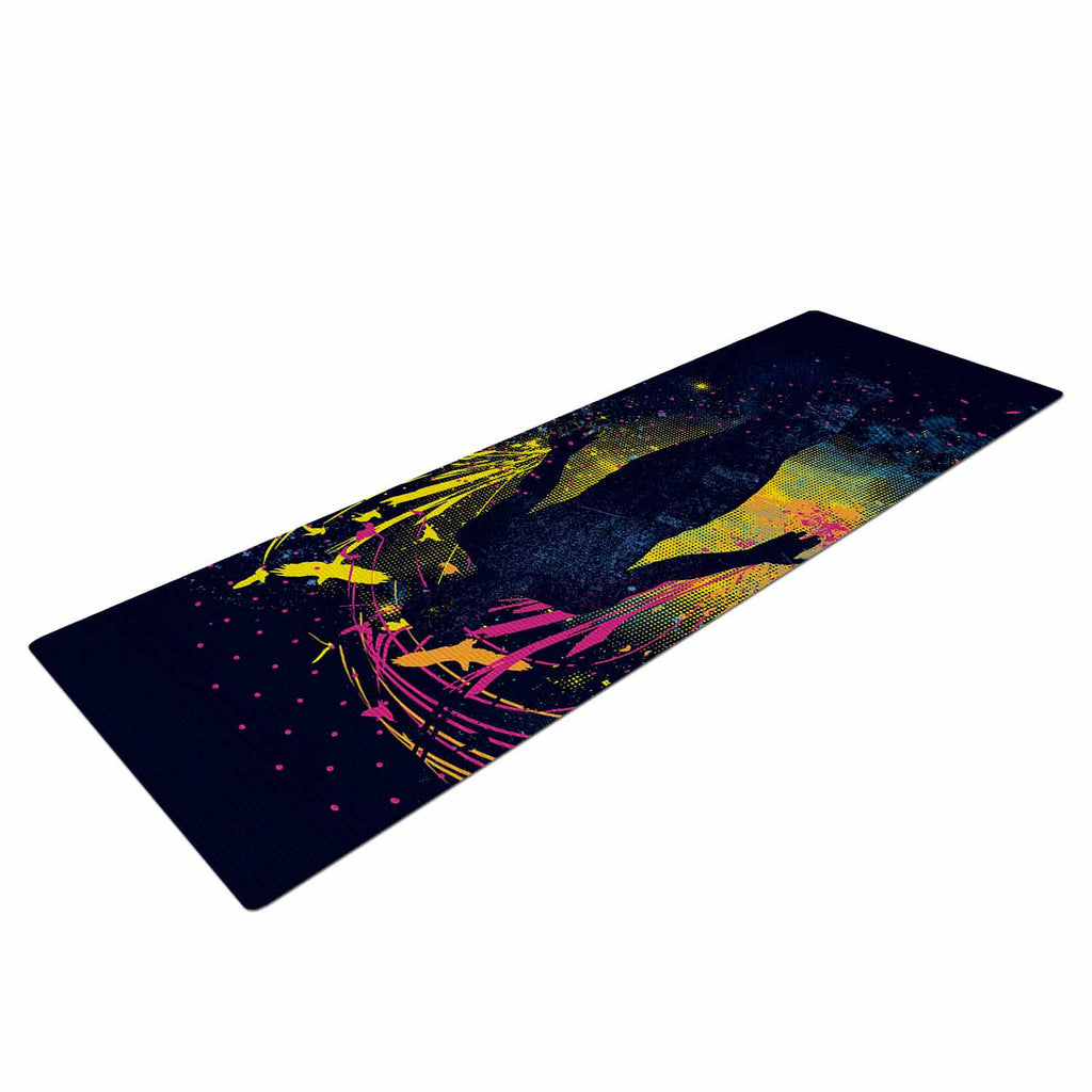 "Frederic Levy-Hadida ""The Birds Master"" Blue Multicolor Yoga Mat - KESS InHouse  - 1"
