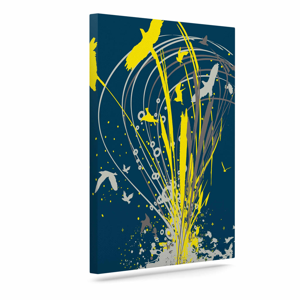 "Frederic Levy-Hadida ""Migratory Patterns"" Blue Yellow Canvas Art - KESS InHouse  - 1"