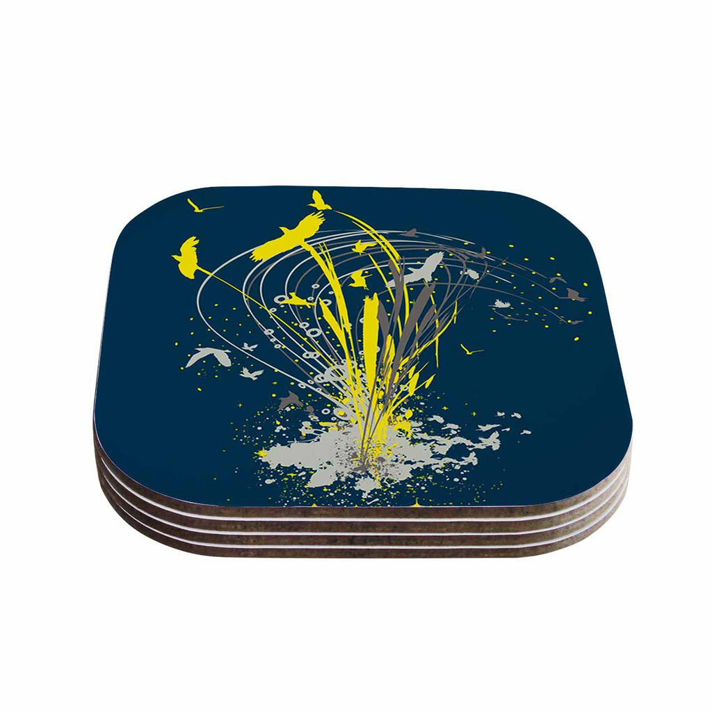 "Frederic Levy-Hadida ""Migratory Patterns"" Blue Yellow Coasters (Set of 4)"