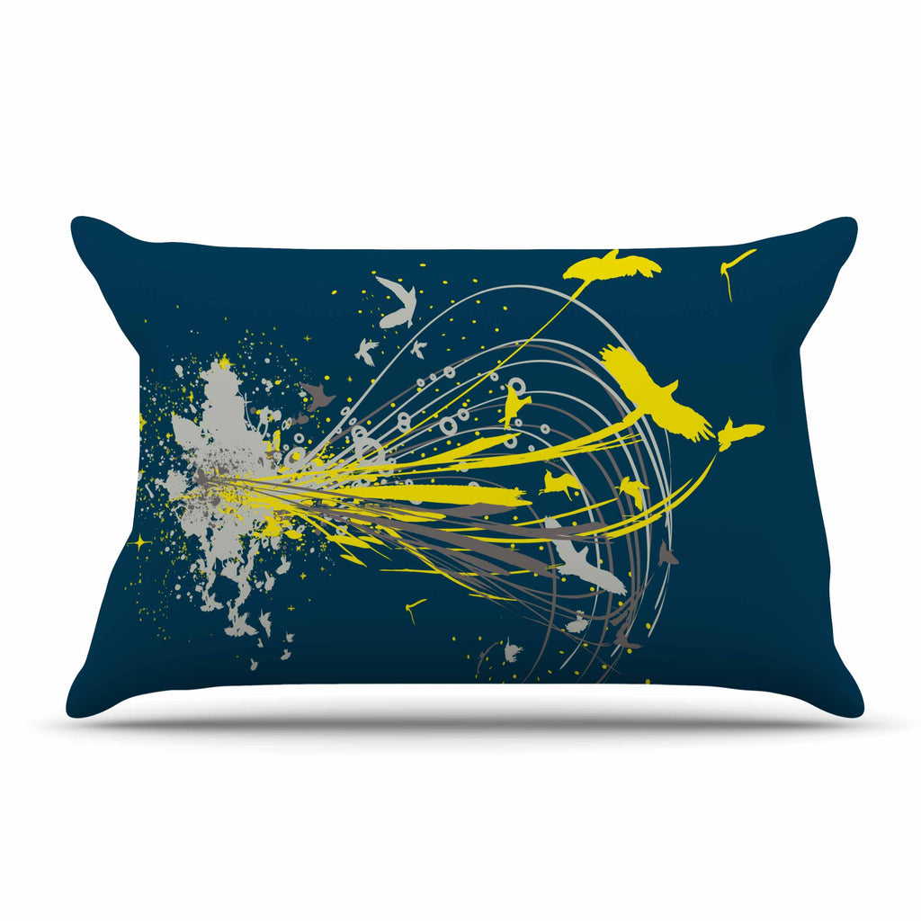 "Frederic Levy-Hadida ""Migratory Patterns"" Blue Yellow Pillow Sham"
