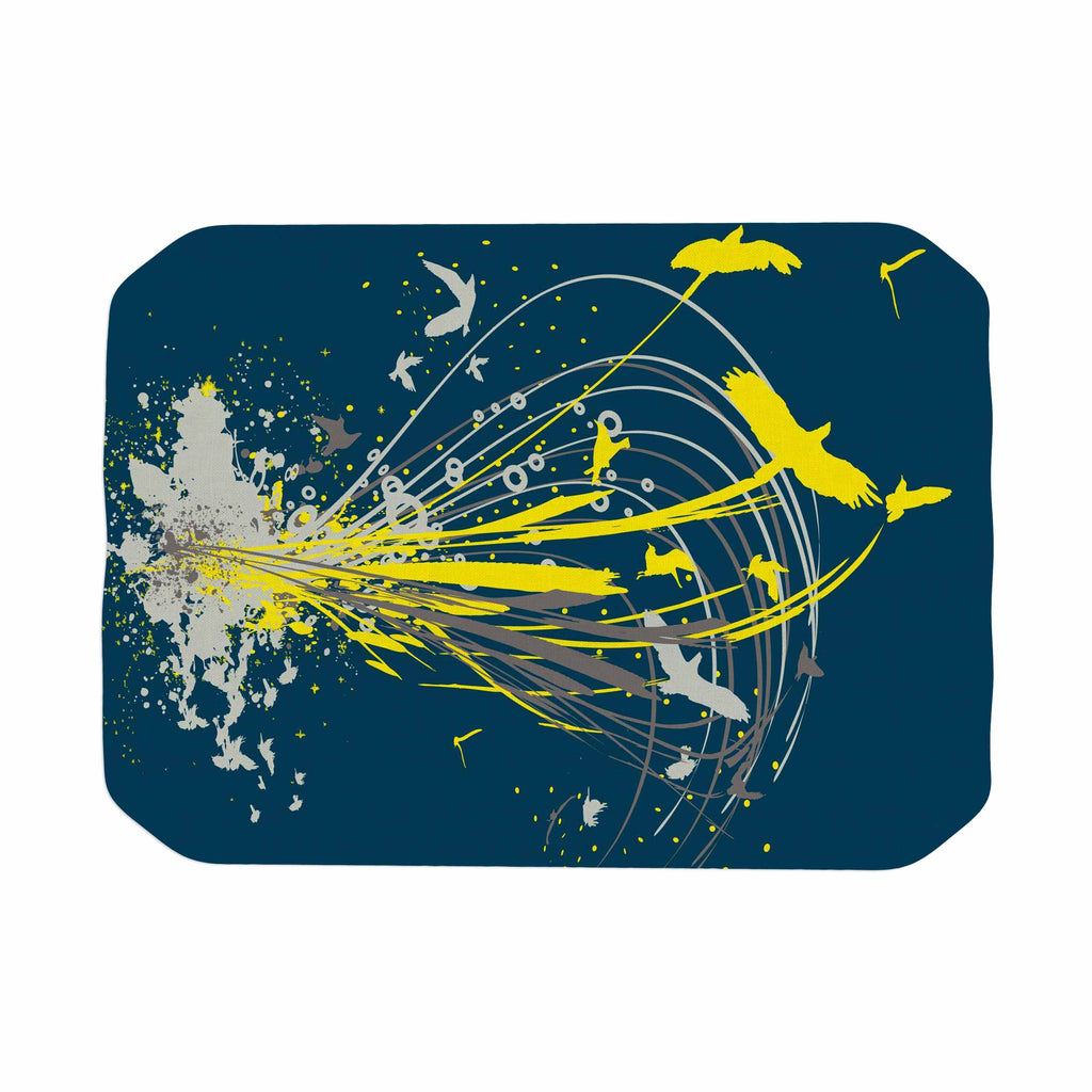 "Frederic Levy-Hadida ""Migratory Patterns"" Blue Yellow Place Mat - KESS InHouse"