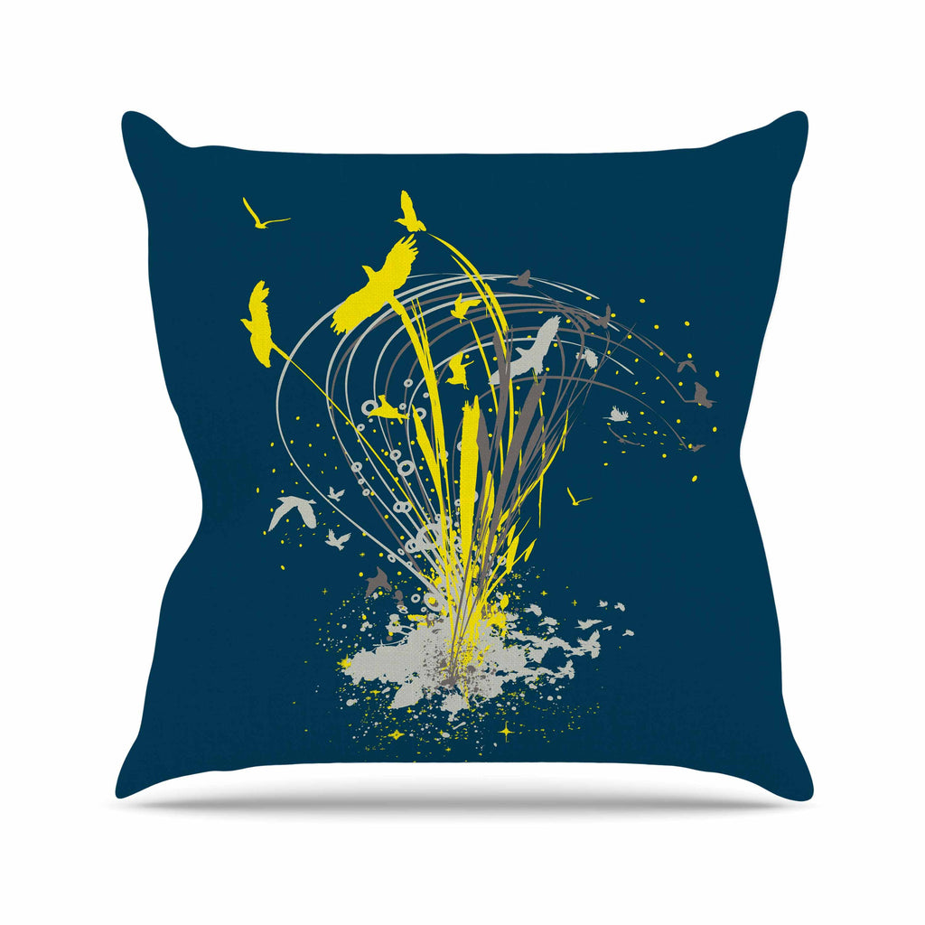 "Frederic Levy-Hadida ""Migratory Patterns"" Blue Yellow Outdoor Throw Pillow - KESS InHouse  - 1"