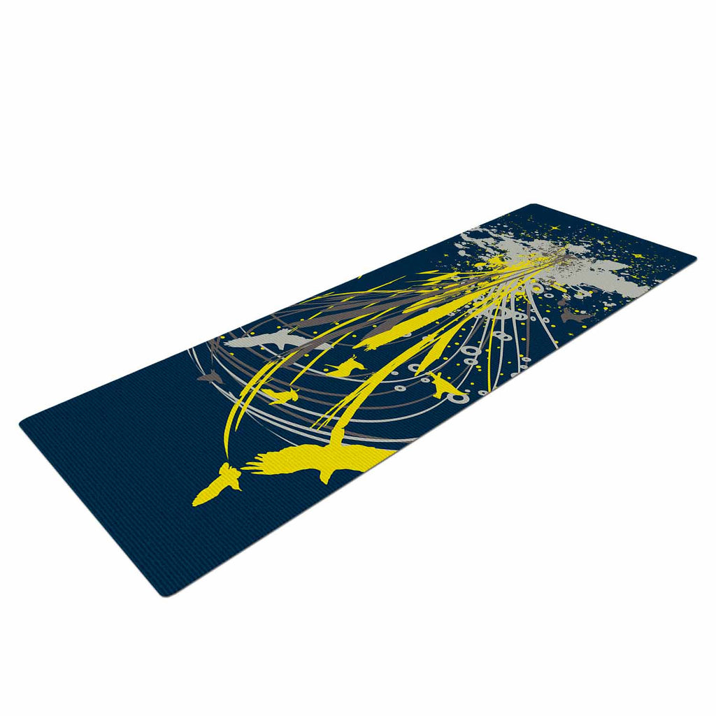 "Frederic Levy-Hadida ""Migratory Patterns"" Blue Yellow Yoga Mat - KESS InHouse  - 1"
