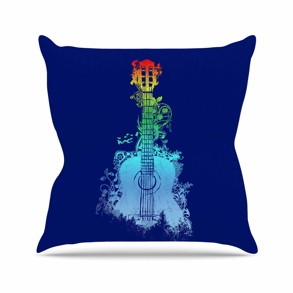 "Frederic Levy-Hadida ""Nature Tune"" Blue Multicolor Outdoor Throw Pillow - KESS InHouse  - 1"