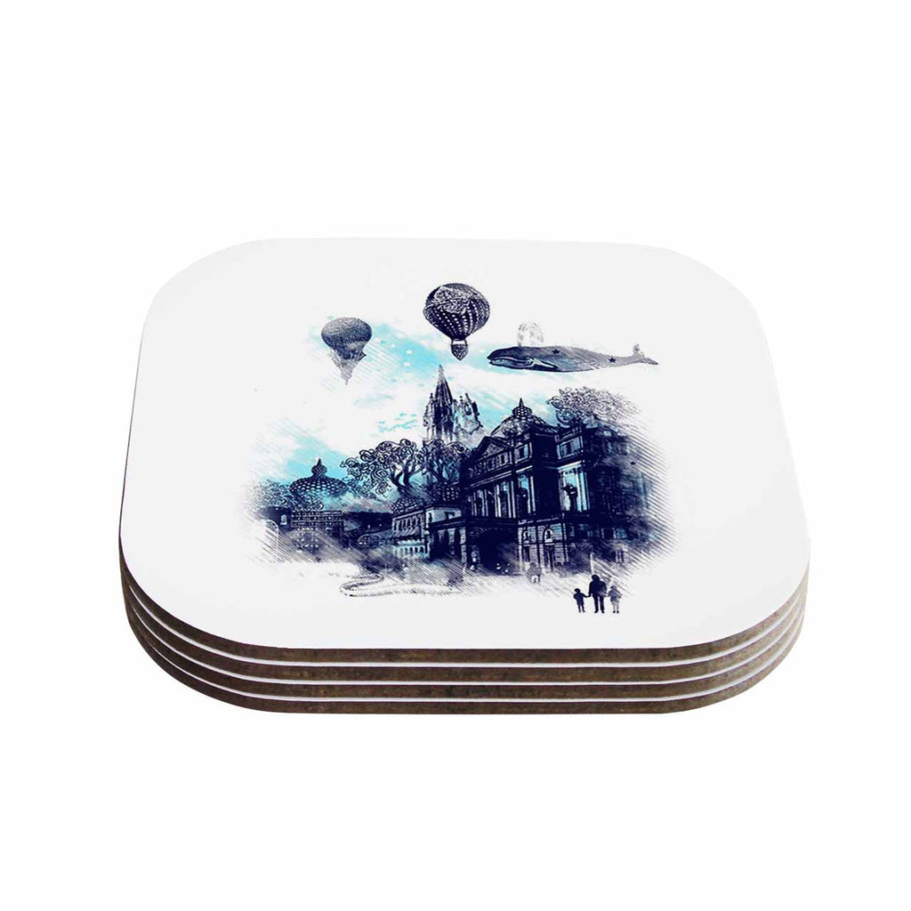"Frederic Levy-Hadida ""Strange Town"" Blue City Coasters (Set of 4)"