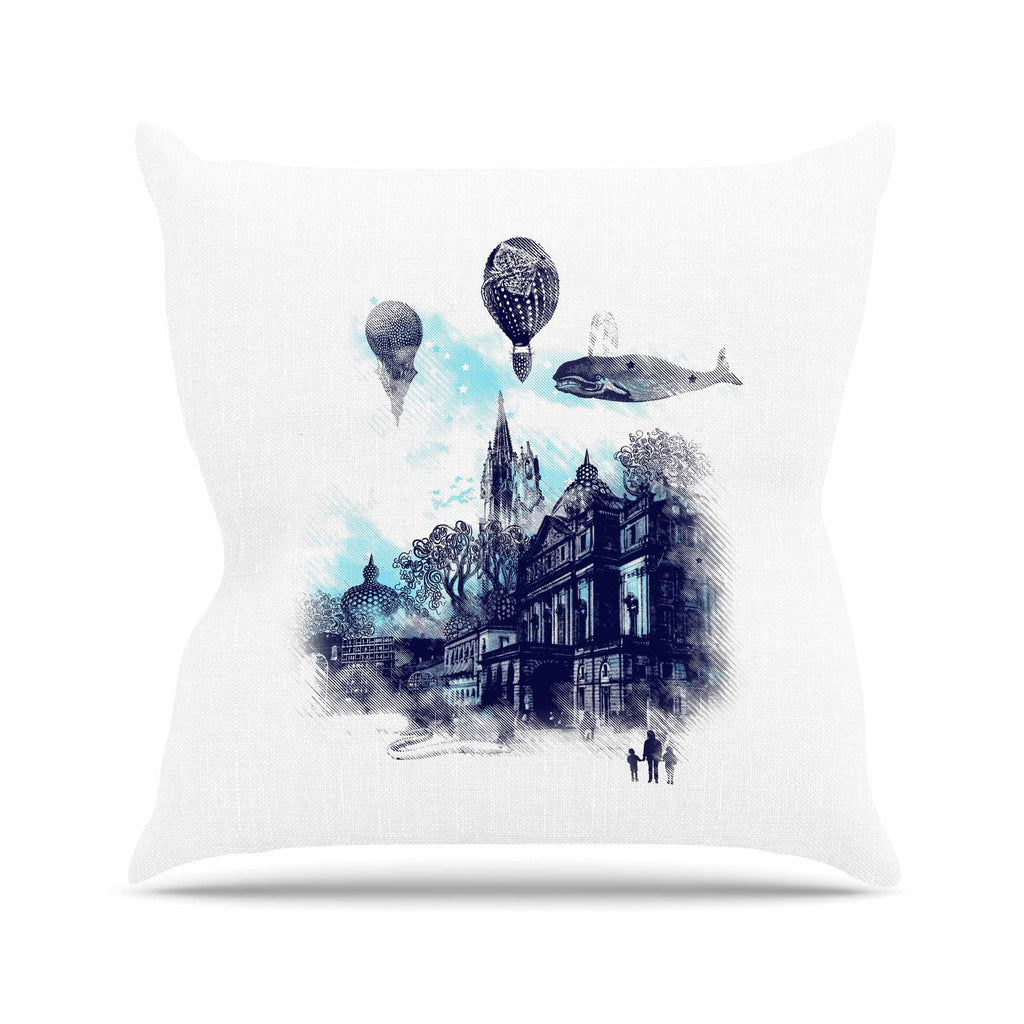 "Frederic Levy-Hadida ""Strange Town"" Blue City Outdoor Throw Pillow - KESS InHouse  - 1"