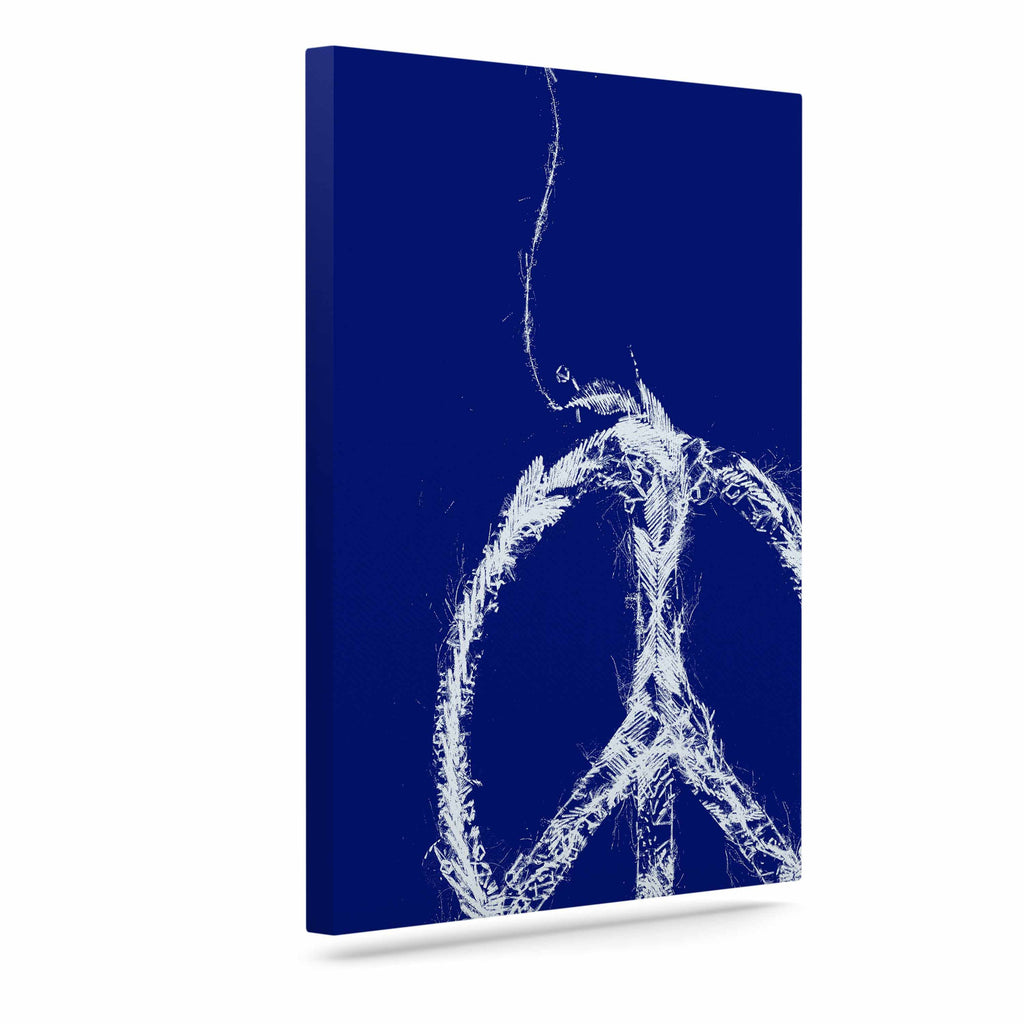 "Frederic Levy-Hadida ""Bird Sewing Peace"" Blue White Canvas Art - KESS InHouse  - 1"