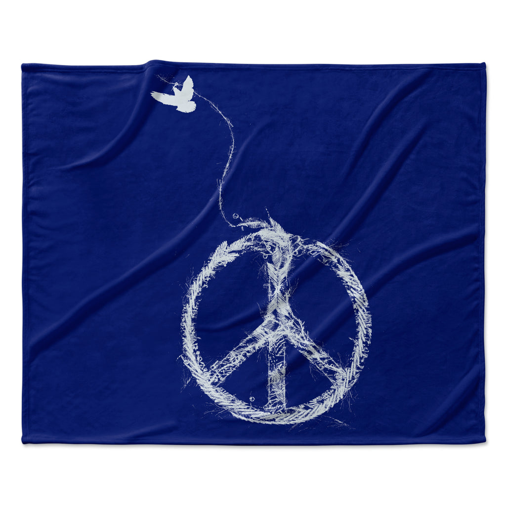 "Frederic Levy-Hadida ""Bird Sewing Peace"" Blue White Fleece Throw Blanket"
