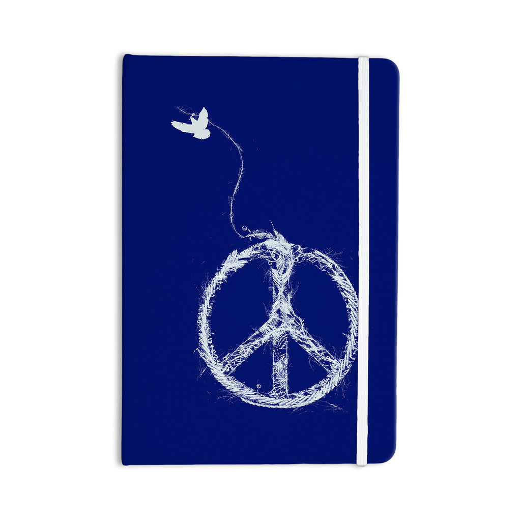 "Frederic Levy-Hadida ""Bird Sewing Peace"" Blue White Everything Notebook - KESS InHouse  - 1"