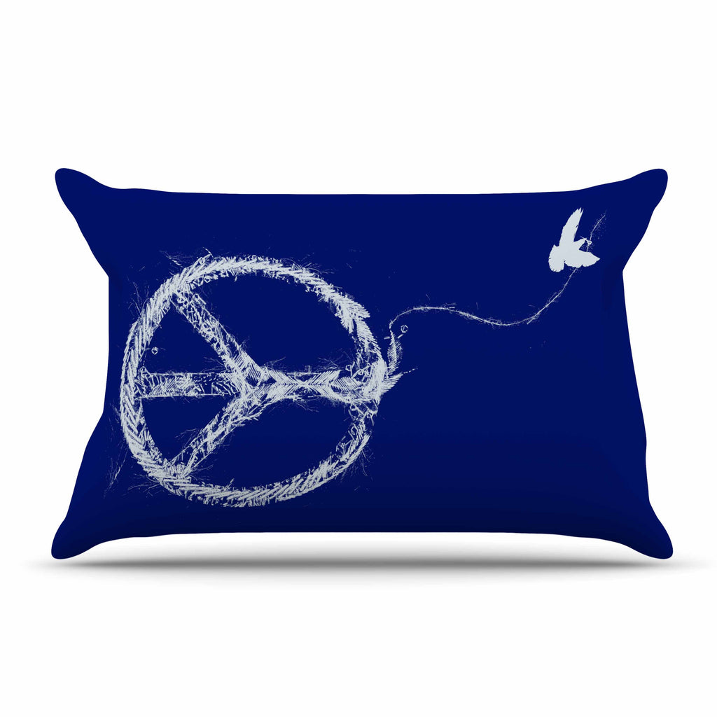 "Frederic Levy-Hadida ""Bird Sewing Peace"" Blue White Pillow Sham"