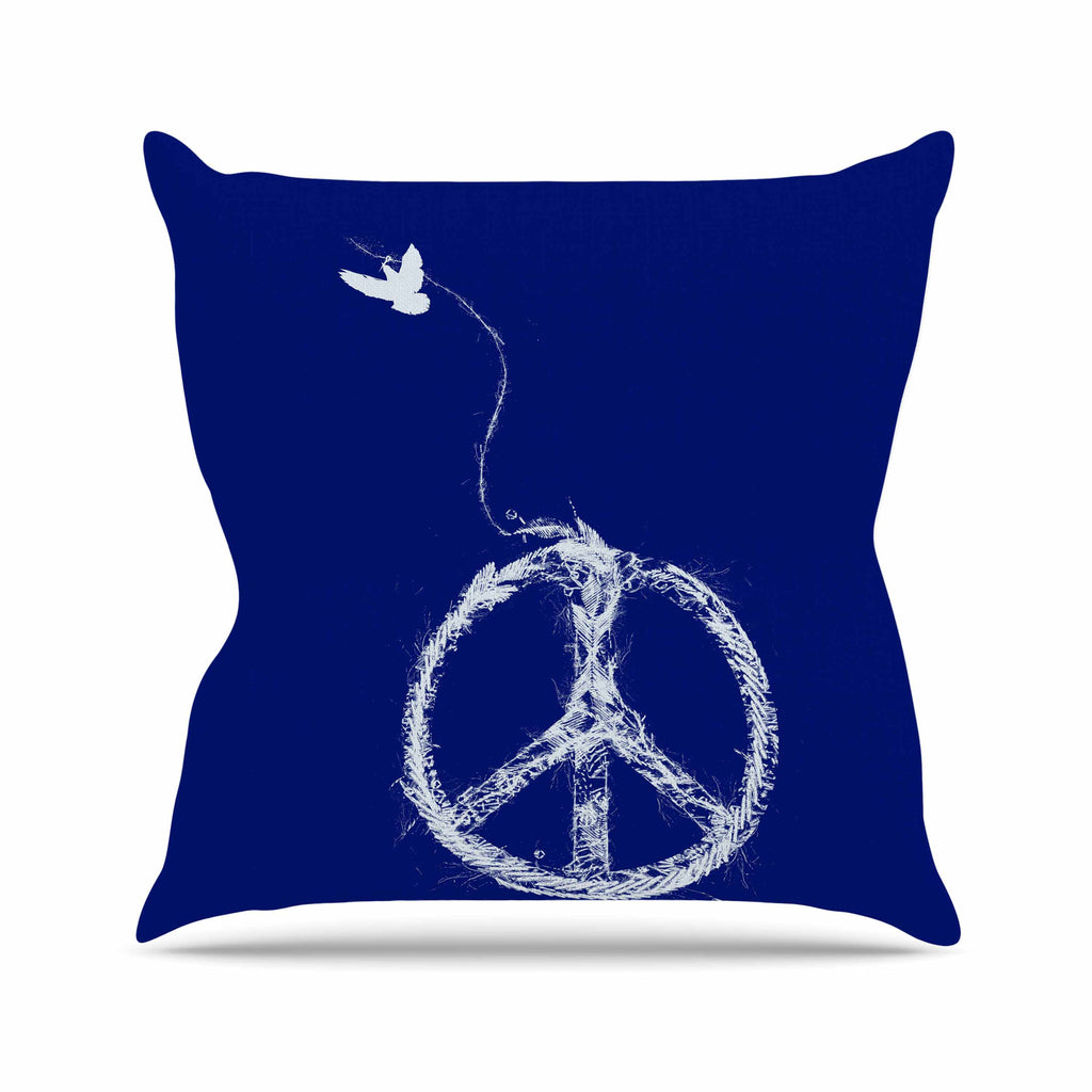 "Frederic Levy-Hadida ""Bird Sewing Peace"" Blue White Outdoor Throw Pillow - KESS InHouse  - 1"