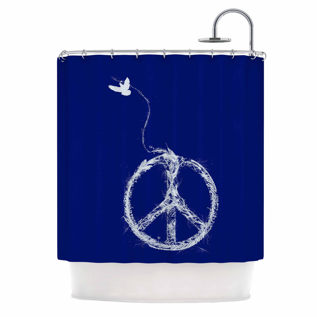 "Frederic Levy-Hadida ""Bird Sewing Peace"" Blue White Shower Curtain - KESS InHouse"