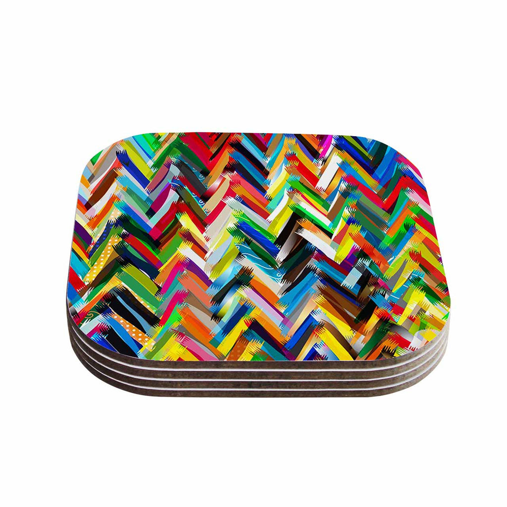 "Frederic Levy-Hadida ""Chevrons"" Rainbow Coasters (Set of 4)"