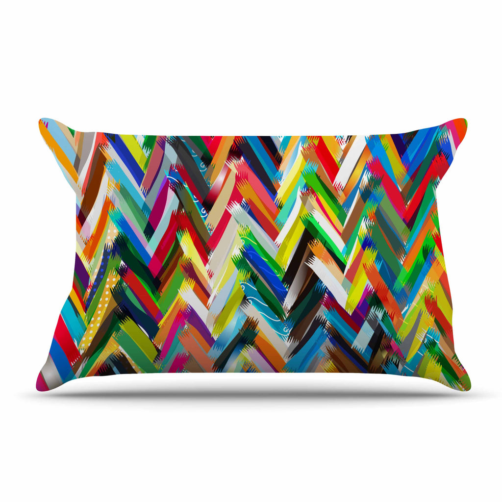 "Frederic Levy-Hadida ""Chevrons"" Rainbow Pillow Sham"