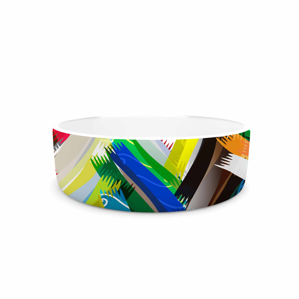 "Frederic Levy-Hadida ""Chevrons"" Rainbow Pet Bowl - KESS InHouse"