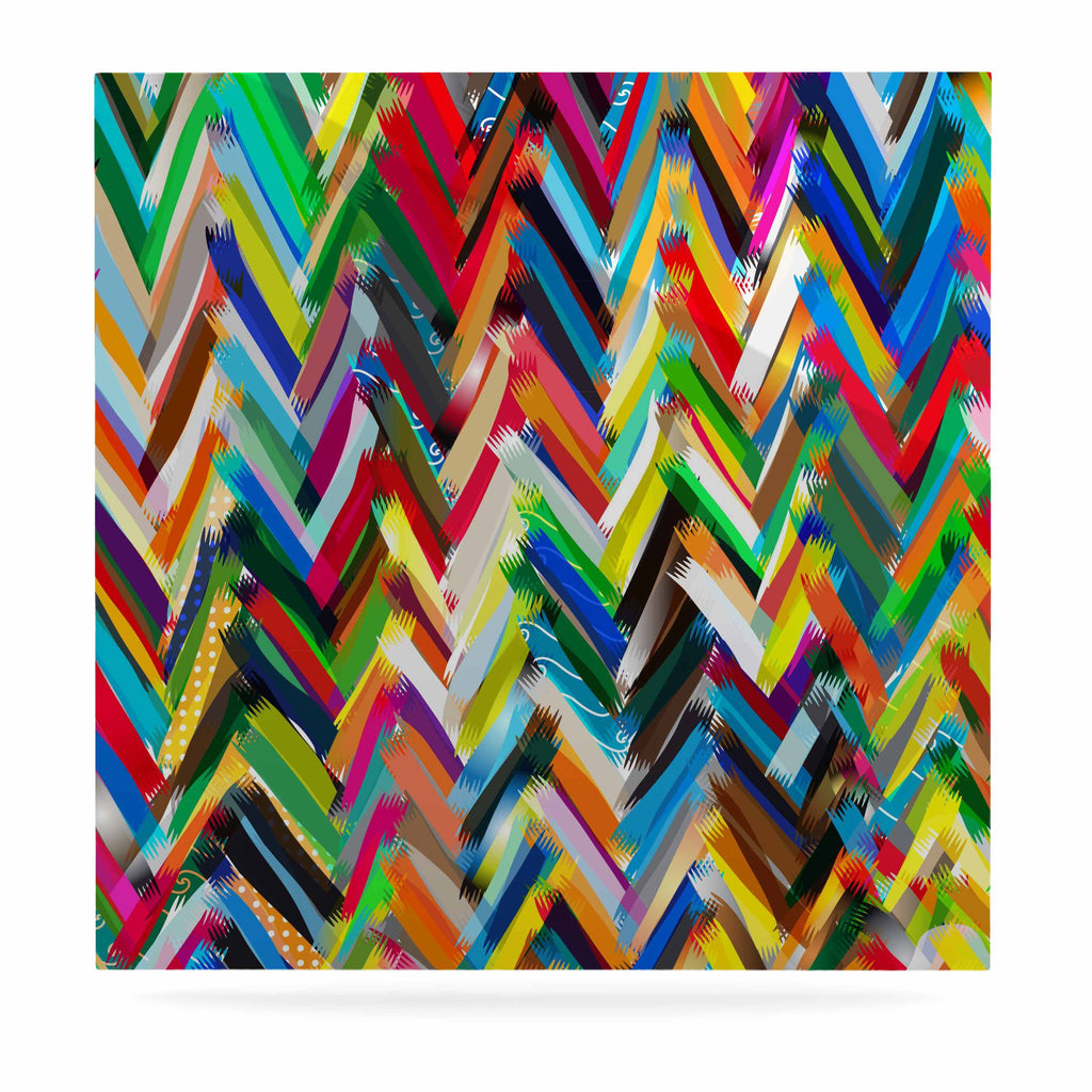 "Frederic Levy-Hadida ""Chevrons"" Rainbow Luxe Square Panel - KESS InHouse  - 1"