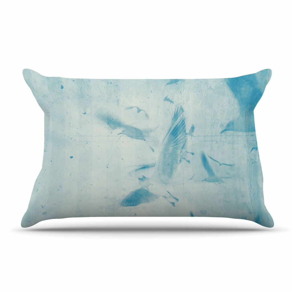 "Frederic Levy-Hadida ""Them Birds - Blue"" Aqua Pillow Sham"