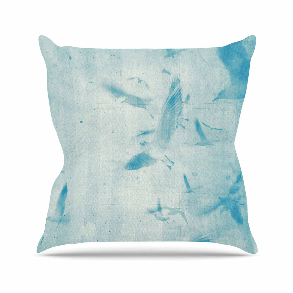 "Frederic Levy-Hadida ""Them Birds - Blue"" Aqua Throw Pillow - KESS InHouse  - 1"