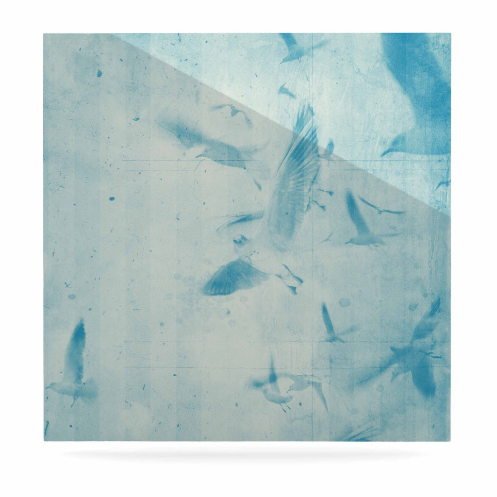 "Frederic Levy-Hadida ""Them Birds - Blue"" Aqua Luxe Square Panel - KESS InHouse  - 1"
