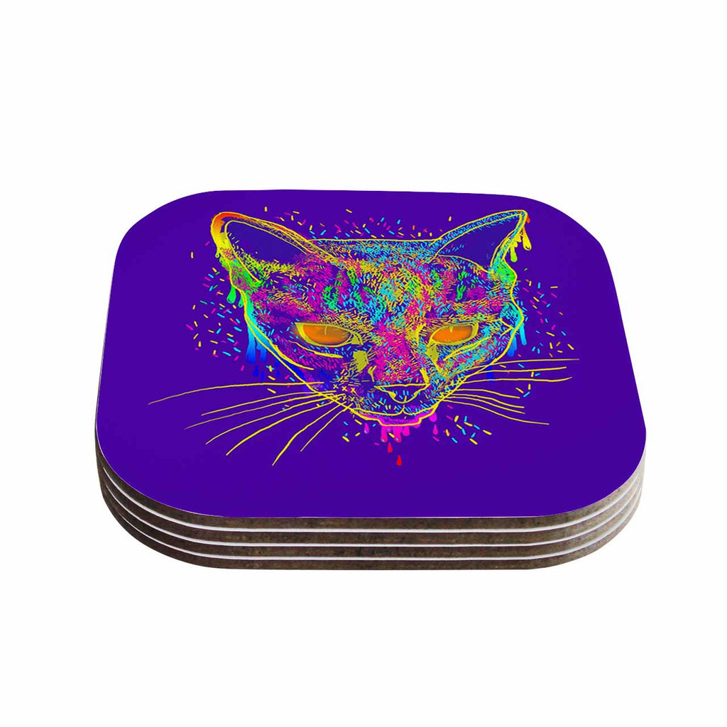 "Frederic Levy-Hadida ""Candy Cat Purple"" Rainbow Purple Coasters (Set of 4)"