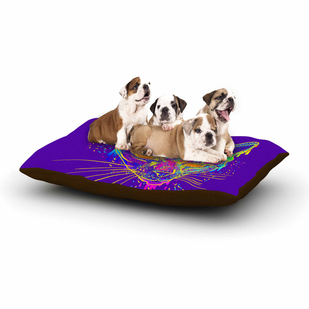 "Frederic Levy-Hadida ""Candy Cat Purple"" Rainbow Purple Dog Bed - KESS InHouse  - 1"