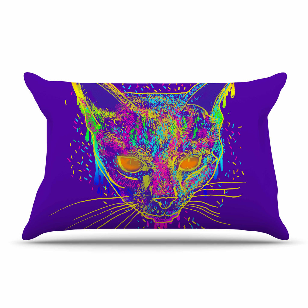 "Frederic Levy-Hadida ""Candy Cat Purple"" Rainbow Purple Pillow Sham"