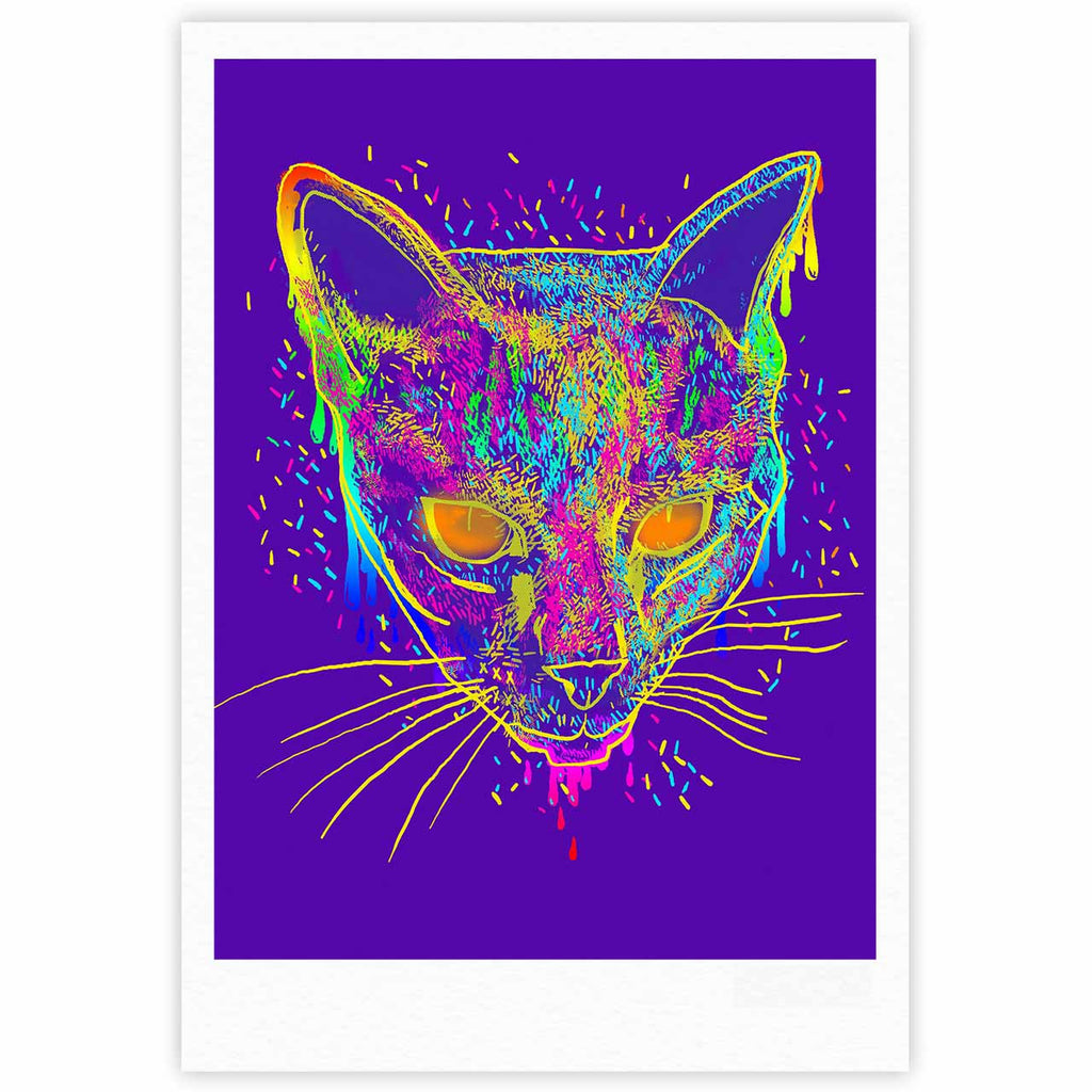 "Frederic Levy-Hadida ""Candy Cat Purple"" Rainbow Purple Fine Art Gallery Print - KESS InHouse"